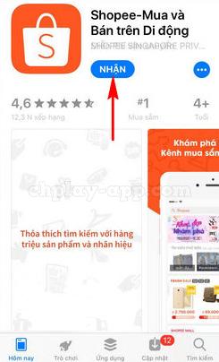 ứng dụng shopee cho điện thoai iphone, ios