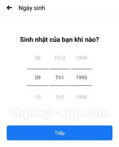 điền ngày tháng năm sinh đăng ký facebook