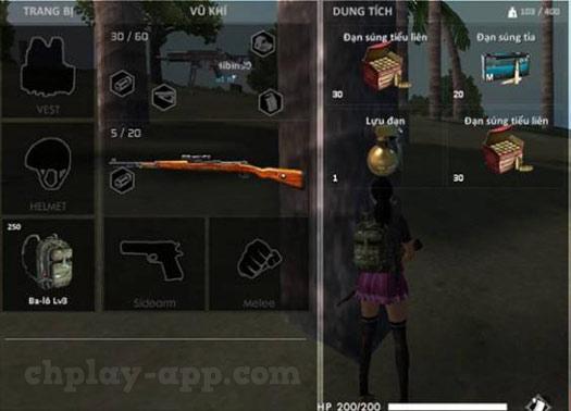 ba lô vũ khí, trang bị vật phẩm trong game free fire
