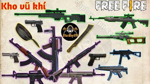 hệ thống vũ khí trong garena free fire