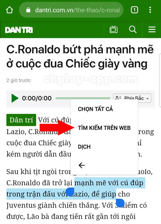 tính năng tìm kiếm nhanh trên web của chrome