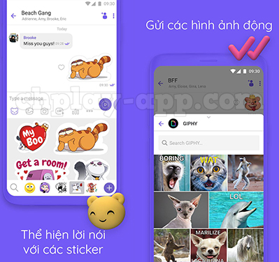 gửi sticker và hình động vui nhộn trên viber messenger
