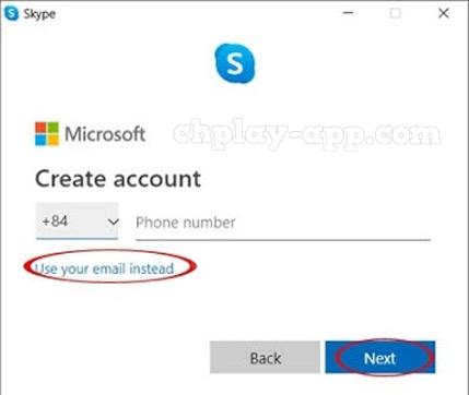 nhập số điện thoại hoặc email tạo tài khoản skype